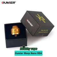 Wholesale Clear Tank Electronic Cigarette - Original Oumier WASP NANO RDA Mini Tank Electronic Cigarette 22mm Diameter Airflow Control Atomizer With Clear PEI Inner Cap E-cig Vaporizer