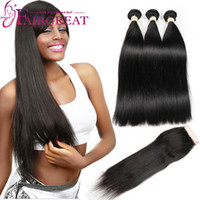 Wholesale Straight Human Hair Closure - Brazilian Straight  Body wave Human Hair Bundles With Closure Brazilian Human Hair With Lace Closure 100% Unprocessed Virgin Hair Weaves