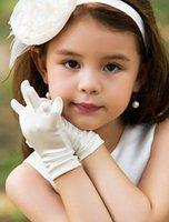 Wholesale Children Plain Stocking - Wrist Length Fingertips Satin Gloves For Flower Girls White Ivory Children Wedding Gloves Short Gloves For Kids In Stock