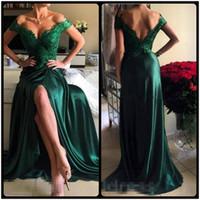 Wholesale emerald evening short dresses - Robe De Soiree Emerald Green Lace Evening Dresses 2017 Off The Shoulder V Neck Backless High Slit Satin Long Evening Party Gowns