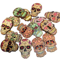 Wholesale 25mm Craft Buttons - Meatilk 50PCS 2 Holes Skull Shape Mixed Wooden Buttons Sewing Scrapbooking DIY Craft 25mm x 15mm