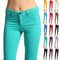 Wholesale Silver Jeans Wholesaler - NEW Arrivals Wholesale and retail Fashion Women's 24 Colors Casual Skinny Leg Pencil Pants Cotton Blends Stretchy Jeans Trousers CL099