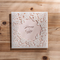 Wholesale Invitation Sets - Wholesale - Laser Cut Wedding Invitations Cheap Hollow Flower Wedding Invitations Cards Sets Wedding Accessories Free Shipping CPA830