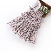 Wholesale Summer New Bohemia Chiffon Dress - 2017 Summer New Girls Bohemia Dresses Sleeveless Tiered Floral Chiffon Beach Dress With Sunhat Children Clothes 4-9Y 26261