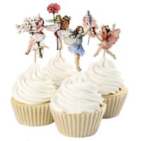 pastel de fiesta de hadas al por mayor-Al por mayor-48pcs Flower Fairy Cupcake Toppers Picks para decoraciones de cumpleaños Año Nuevo Pascua Fiesta de Halloween Cake Decoration Favor