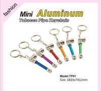 Wholesale Keychain Pipes - Creative Smoking Accessories Tools Mini Smoke metal Cigarette Smoking Pipes Herbal Aluminum tobacco keychain pipe 6colors 74mm length