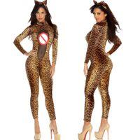 Wholesale Leopard Sexy Bodysuit - Sexy Women Mesh Catsuit Leopard Bodycon Slim Jumpsuit Catwoman Bodysuit Halloween Cat Theme Party Cosplay Costume