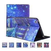 Wholesale Leather Case Painting Series - IPad 6 5 air 2 1 Oil Painting Series Flower Pattern PU leather Case Auto sleep wake Stand Cover OPP BAG
