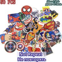 Wholesale Cartoon Super Heroes - HOT 50 Pcs Lot Stickers For MARVEL Super Hero Cartoon Stickers For Laptop Decal Fridge Skateboard Batman Superman Hulk Iron Man