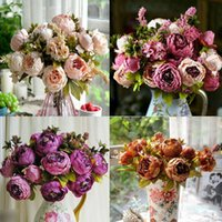 Atacado - Flor de seda QUENTE 1 Bouquet europeu Flores artificiais 13Heads Queda Vivid Peony Fake Leaf Wedding Home Party Decoration
