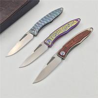 Wholesale Hunting Leaf - Free shipping, survival EDC tool knife Mnandi m390 leaf Shemu handle folding knife TC4 titanium alloy copper gasket hunting camp