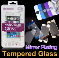 protetor de tela colorida iphone 5s venda por atacado-Protetor de tela colorida de vidro temperado para iphone 6 plus 5 5s cor chapeamento espelho colorido frente e traseira de vidro film para iphone 7 plus
