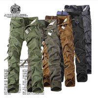 Wholesale Mens Pants Models - Wholesale hot models loose size Mens Multi Pocket Jeans washing and outdoor pants