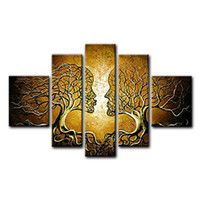 Wholesale Large Art Work - Brown Human Tree Large Modern 5 Panels 100% Hand Painted Gallery Wrapped Abstract Oil Paintings on Canvas Wall Art Work Ready to Hang for Li