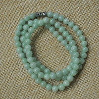 Wholesale Certified Jade - Certified Untreated Green Icy Jadeite Jade 6MM necklace Special offer