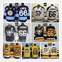 Wholesale Mixed Light S - Stitched NHL Pittsburgh Penguins 66 Mario Lemieux Black White Light Blue yellow Blue Hockey Ice Jersey Mix Order