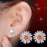 48Pcs / Lote Brand New Romântico Exquisite Chrysanthemum Stud Earrings Mulheres 925 Sterling Silver Jóias Party Moda Brincos Ouro / Prata