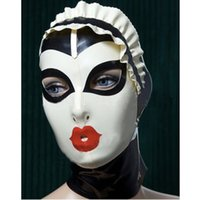 Wholesale Hot Female Maid - New Sexy women Handmade Customized Latex Cosplay maid Hoods spliced color Hot Fetish Mask Heroine female mask Headgear Zentai