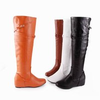 Wholesale Long White Boots For Women - Casual Free Shipping Long over knee Boots for girls Ladies Fashion Over-The-Knee Flat Wedge High Boots Inner Heel Round Toe Euro boots Q3