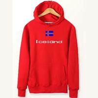 ingrosso giacche a spazzola-Felpe con bandiera dell'Islanda Felpe per il tempo freddo Paese Abbigliamento in pile di cotone Cappotto pullover Giacca sportiva da esterno Felpe spazzolate