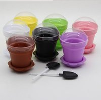 Wholesale Wedding Ice Cream Spoon - Flower Pot Cake Cups & Spoon Set Ice Cream ecoration for Wedding Kids Birthday Party Supplies Baking Pastry Tools