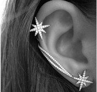 Wholesale Ear Cuff Bling Wholesale - Diamond Earrings New Snowflake Bling Earrings Ear Clip Asymmetric Ear Cuff Graceful Women Fashion Girl Luxury Wedding Birthday Gift Jewelry