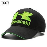 Wholesale Motogp Hats - IGGY 2018 caps Cool Blue green Motorcycle Racing embroideried kawasaki cap Hat MOTOGP baseball cap dad hat bone Casquette