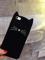 Wholesale Black Galaxy S4 Case - Lanyard + Animal Phone Case for Samsung Galaxy S3 S4 S5 S6 S7 Edge S8 S8+ Cute 3D Mustache Cat Silicone Coque Cover White Black