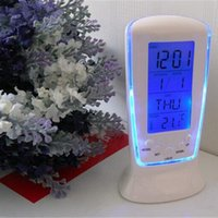 Wholesale Weather Station Clock Led - LED Digital Clock LCD Desk Music Alarm Tower Clock+Calendar+Thermometer Digital Thermometer LCD Alarm Clock Calendar Weather Station Clocks