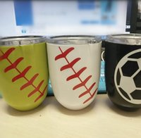 Other black powder coating - Baseball Softball Basketball Egg Cup Printed Stemless Wine Mugs Styles Powder Coated Stainless Steel Wine Glass Beer Cup With Lid OOA2265
