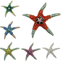 Wholesale Fashion Colorful Mental Gold Silver Christmas STAR Brooch Christmas Girl Women Christmas lucky starfish Jewelry Gifts Brooch