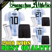 Wholesale Shirt Football Argentina - Argentina kids 2018 Soccer Jersey 2018 Argentina kit Jersey Home DYBALA soccer Shirt Messi Aguero Di Maria Child football uniform BOYS