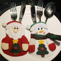 Wholesale table cloth holders resale online - Christmas Tableware Bags Dining Restaurant Table Christmas Decoration styles snowflake Knife Fork Holder Socks Tableware Bags