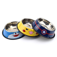 boire de l'eau achat en gros de-Voyage Pet Dry Food Cat Bols pour chiens Pikachu Pattern Chiens Bols En plein air potable Fontaine Pet Dog Dish Feeder Marchandises