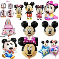 Wholesale Inflatable Head Balloon - 1Pc Mickey Mouse Minnie Head Foil Balloon Kids Birthday Party Decorations Baby Shower Supplies Inflatable Mitch Nemini Ballon