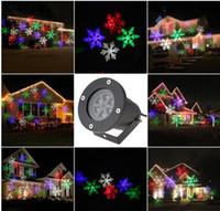 luces láser proyector de navidad al por mayor-LED RGBW 4LED Película de copo de nieve en movimiento Navidad Navidad Césped Espectáculo Proyector Luz exterior IP65 al aire libre láser luces navideñas lámpara de escenario de Navidad