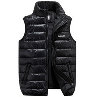 Wholesale Vest Stand Collar - 2017 Winter Brand Mens Down Casual Vest Designer Down Dress Vests Homme Fashion Thick Warm Sleeveless Jacket For Men Plus Size