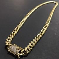 cadena de eslabones cubanos de 8 mm al por mayor-Collar de cadena de eslabones cubanos de acero inoxidable 316L en tono oro de 18Q para hombre Curb cadena de eslabones cubanos con cierre de diamantes 8mm / 10mm / 12mm / 14mm / 16mm / 18m