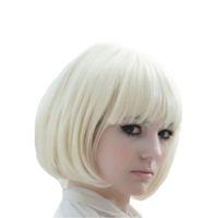 qualität kostüm perücken großhandel-100% neue hochwertige Mode Bild volle Spitzeperücken neue Mode Frauen kurze blonde Bobo synthetische Party Kostüm volle Perücken
