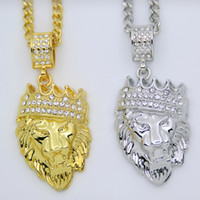 Wholesale White Gold Head Crowns - 2 Colors Hip Hop Bling 18k Gold Silver Plated Iced Out Jewelry Crown Lion Head Pendant Necklace