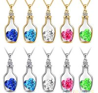 Wholesale Cheap Wholesale Bottles - New Bottles And Love Crystal Pendant Necklace Cheap Diamond Alloy Necklace Sweater Necklace Locket Jewelry S143