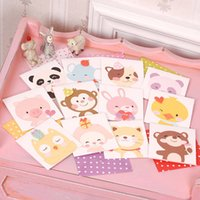 Wholesale Paper Stationery For Children - Wholesale- 12pcs lot Mini Postcard Paper Greeting Card For Children Kids Cute Cartoon Birthday Card Thank You Card Stationery Supplies WZ