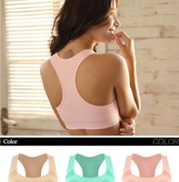 Wholesale Athletic Tank Tops - Professional Absorb Sweat Top Athletic Running Sports Bra Gym Fitness Women Seamless Padded Vest Tanks gym clothes