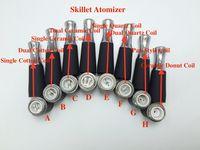Wholesale Dual Coil Cartomizer Replacements - MOQ is 20pcs skillet coils wax burner dual quartz coil ceramic coils skillet atomizer coil head replacement for skillet vaporizer cartomizer