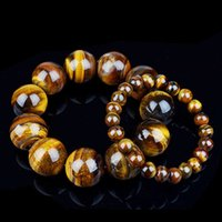 Wholesale Topaz Stone Ring - AAAAA 8 10 12 14 16 18 20mm Natural Genuine Tiger Eye Stone Bracelet Handmade Stretch Strand Healing Yage Bracelets