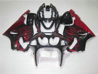Wholesale 1996 Zx7r Red - Free 7 gifts Fairings set for Kawasaki Ninja ZX7R 96 97 98 99 00-03 red flames black fairing kit ZX7R 1996-2003 OY24