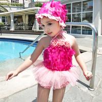 Wholesale Girls 3pc Pink - Girls Pretty Flower Lace Swimwear 3pc set Swim cap tube top pants infants baby cute princess retro swimsuit for 2-8T