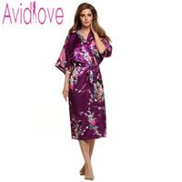 Wholesale Kimono Style Pajamas - Wholesale- Avidlove Newest Long Robe Satin Bathrobe Nightgown For Women Kimono Sleepwear Animal Printed Pajamas Chinese Style U2