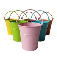 Wholesale Cheap Vinyl Wholesale - Cheap Flowerpots Planter pure garden bucket tin box Iron pots flower metal seed buckets decorative planter and pots