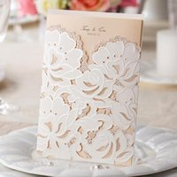 Wholesale Lace Pocket Wedding Invitations - Wholesale-Customizable Pocket Wedding Invitations Cards with Lace Laser Cut CW100 CW066 in White and Red (Set of 50) Free Shipping